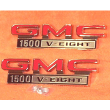 "1968-72 ""GMC 1500 V-Eight"" Truck Fender Emblems (PAIR)"
