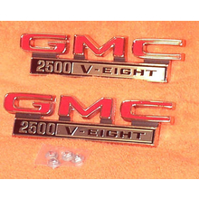 "1968-72 ""GMC 2500 V-Eight"" Truck Fender Emblems (PAIR)"