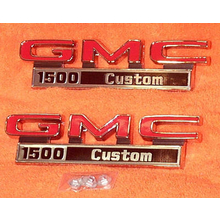 "1971-72 ""GMC 1500 Custom"" Truck Fender Emblems (PAIR)"