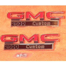 "1971-72 ""GMC 2500 Custom"" Truck Fender Emblems (PAIR)"