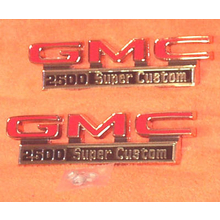 "1971-72 ""GMC 2500 Super Custom"" Truck Fender Emblems (PAIR)"