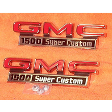 "1971-72 ""GMC 1500 Super Custom"" Truck Fender Emblems (PAIR)"