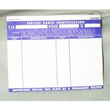 Glove Box Door Option List Sticker 1967-72 Chevy GMC Truck